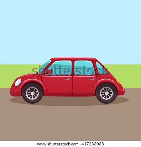 Cute cartoon red small city car