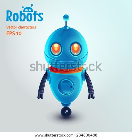 Cute cartoon robot character. Vector illustration. - stock vector