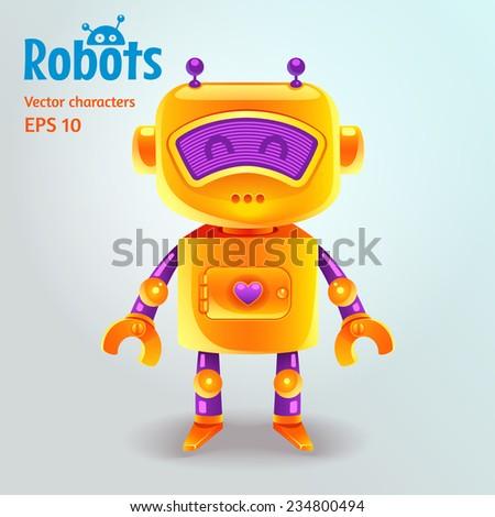 Cute cartoon robot character. Vector illustration. - stock vector
