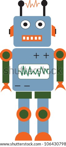 Cute cartoon robot . Vector illustration with colorful.