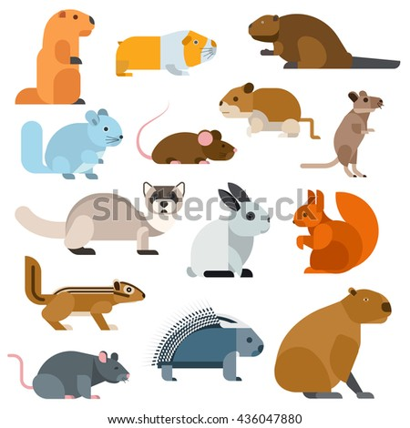 Cute cartoon rodents animals, mouse cartoon in action set, with nine different cartoon rodents standing animals confident. Cartoon rodents mammal nature, mouse character, wildlife rat set. - stock vector