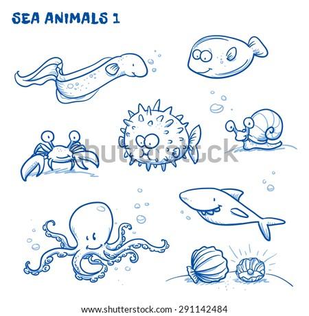 Cute cartoon sea water animals. Eel, crab, puffer fish, octopus,shark, shell, plaice, snail. Hand drawn doodle vector illustration. - stock vector