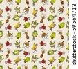 cute cartoon seamless pattern,vector illustration - stock vector