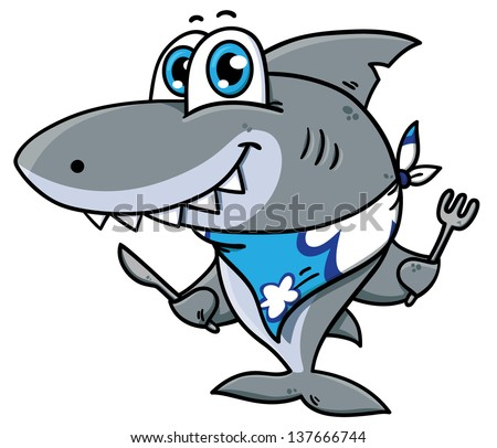 Cute cartoon shark.Vector illustration of adorable  hungry shark - stock vector