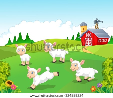 Cute cartoon sheep collection set in with farm background  - stock vector