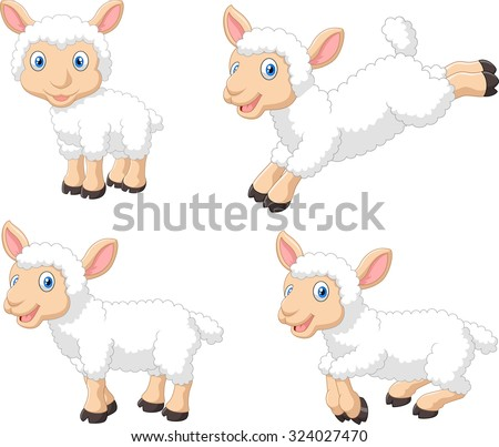 Cute cartoon sheep collection set, isolated on white background  - stock vector