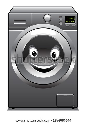 Cute cartoon silver washing machine with a happy face in the door, isolated on white background