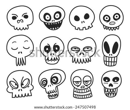 cute cartoon skeleton - stock vector