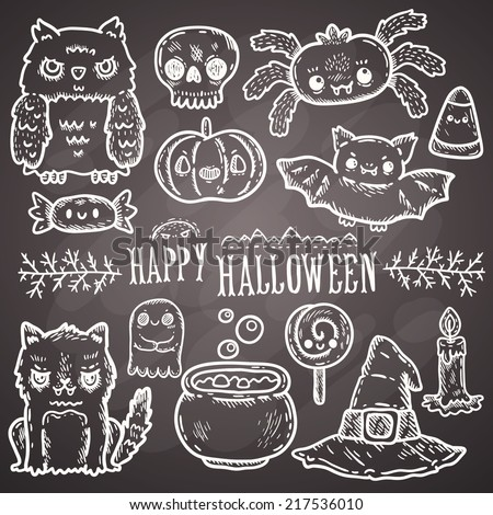 Cute cartoon sketch Happy Halloween. characters set with owl, cat, bat, pumpkin, candle, cauldron, witch hat, lollipop, candy, corn, spider. - stock vector