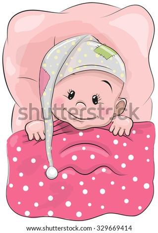 Cute Cartoon Sleeping Baby with a hood in a bed - stock vector