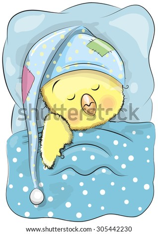 Cute Cartoon Sleeping Chicken with a cap in a bed - stock vector