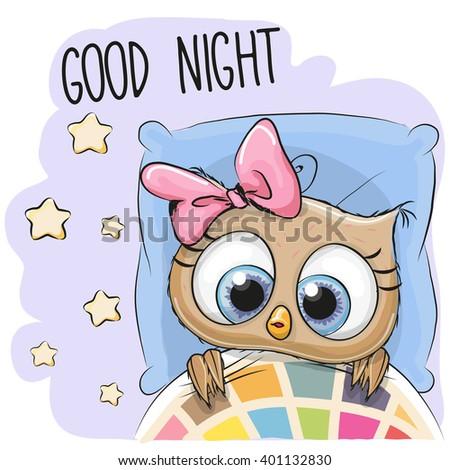 Cute Cartoon Sleeping Owl Girl in a bed - stock vector