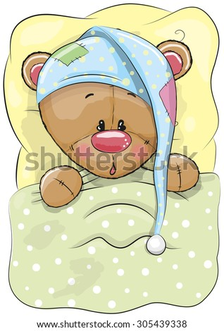 Cute Cartoon Sleeping Teddy Bear with a cap in a bed - stock vector