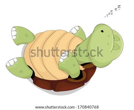 Cute cartoon sleeping vector turtle - stock vector