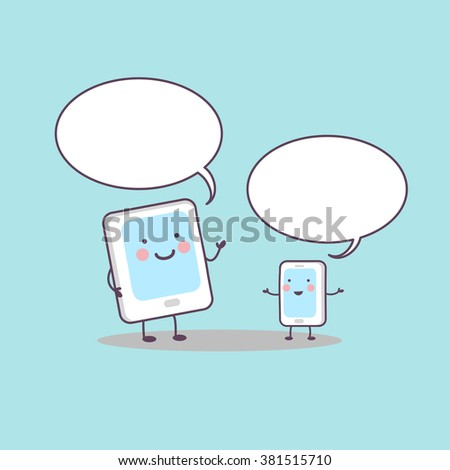 cute cartoon smart and digital tablet pc communicate with Speech Bubble, great for technology concept - stock vector