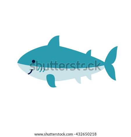 Cute cartoon smiling shark isolated on white background. Art vector illustration. - stock vector