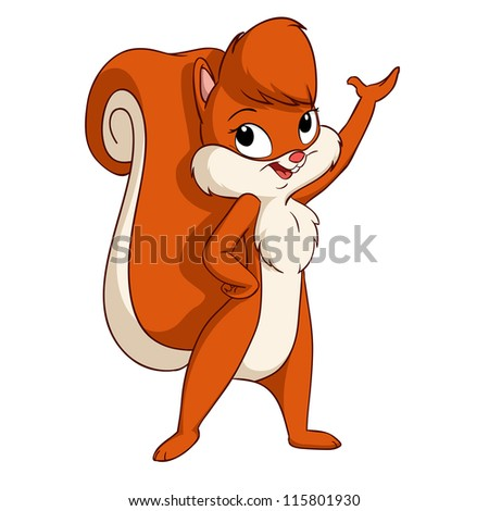Cute cartoon squirrel girl greeting pose. Vector illustration. - stock vector