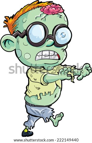 Cute cartoon stalking zombie. Isolated on white - stock vector