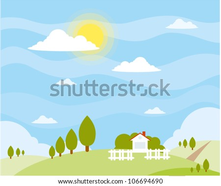 cute cartoon summer landscape with green hills and small white house