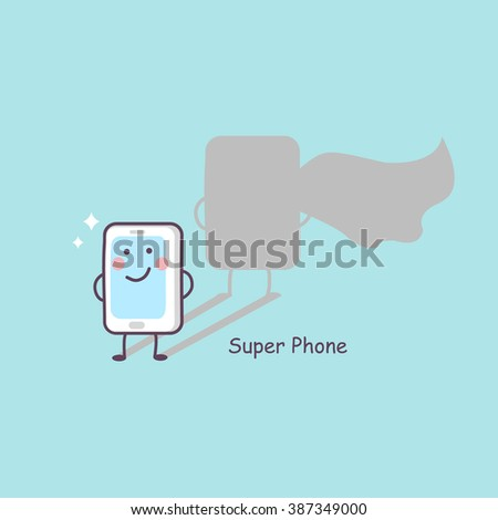 cute cartoon super phone, great for technology concept design - stock vector