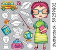 Cute cartoon  teacher and  school doodle icons - stock vector