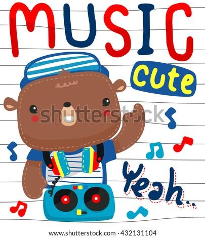 Cute cartoon teddy bear with headphones on a Turntable illustration vector. - stock vector