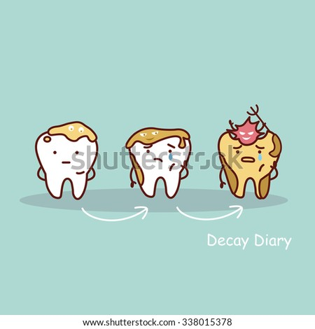 cute cartoon tooth cavity, great for health dental care concept - stock vector