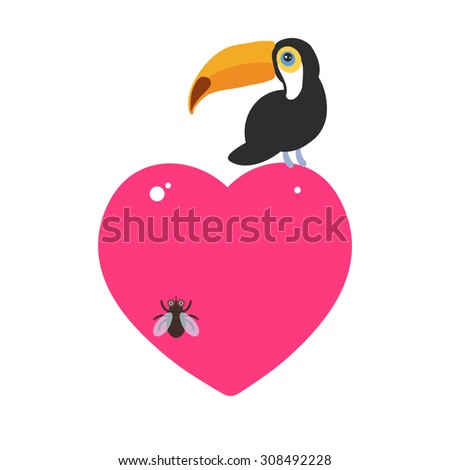 Cute Cartoon toucan bird and the fly Card design with a funny animal with pink heart on a white background. Vector - stock vector