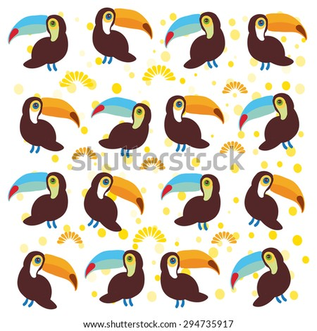 Cute Cartoon toucan birds set on white background. Vector