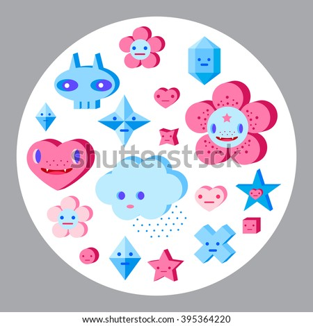 Cute cartoon trees, flowers and small characters set. Pink, light pink, blue, light blue, sky blue, vinous. - stock vector