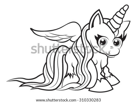 cute cartoon unicorn coloring page for kids - Unicorn Coloring Pictures