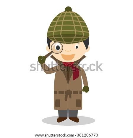 Cute cartoon vector illustration of a detective - stock vector