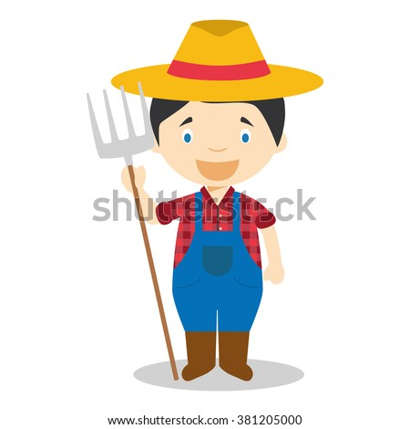 Cute cartoon vector illustration of a farmer - stock vector