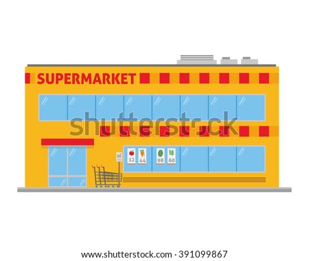 Cute cartoon vector illustration of a supermarket