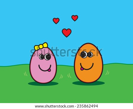 Cute cartoon vector illustration of egg couple in orange and pink with love hearts. background is green grass & bright blue sky. Designed for Easter, Valentine's Day or any romantic occasion. EPS 10. - stock vector