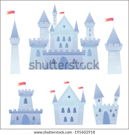 Cute cartoon vector medieval castle with fortress and set of towers - stock vector