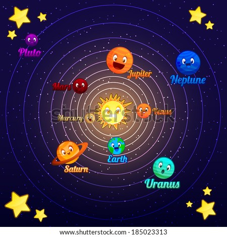 Cute Cartoon Vector Solar System