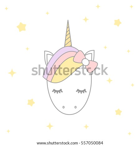 Cute Cartoon Vector Unicorn With Stars Illustration Design