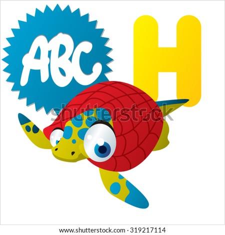 Cute cartoon Water Dinosaurs ABC: H is for Henodus - stock vector