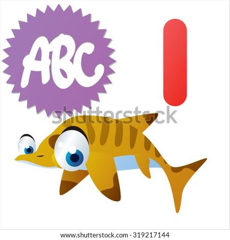 Cute cartoon Water Dinosaurs ABC: I is for Ichthyosaurus - stock vector