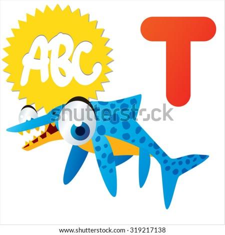 Cute cartoon Water Dinosaurs ABC: T is for Temnodontosaurus - stock vector