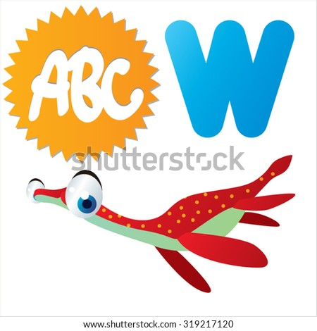 Cute cartoon Water Dinosaurs ABC: W is for Woolungasaurus - stock vector