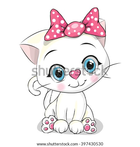 Cute Cartoon white kitten on a white background - stock vector