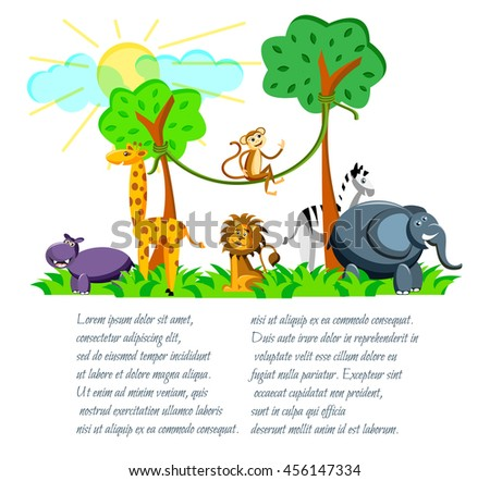cute cartoon wild Africa animals in flat style. Giraffe, elephant,zebra, monkey, lion, hippo  isolated on white background with place for text. Vector illustration - stock vector