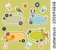 Cute cartoon wild animals stickers - stock vector