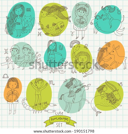 Cute cartoon zodiac set in vector - stock vector