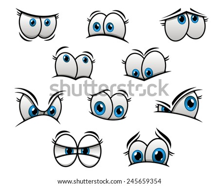 Cute cartooned big blue eyes with happy, fun, sad and angry emotions for creation of comic book characters - stock vector