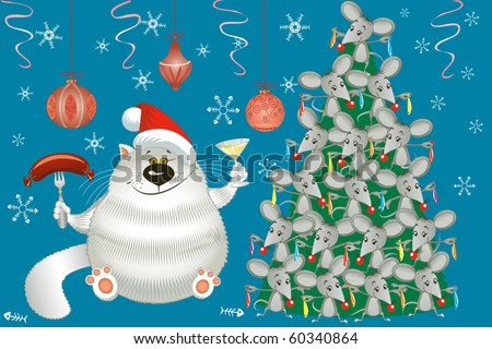 Cute cat and christmas tree decorated with mice - stock vector