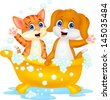 Cute cat and dog bathing time - stock vector