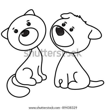 cute cat  and dog cartoon, line art, coloring - stock vector